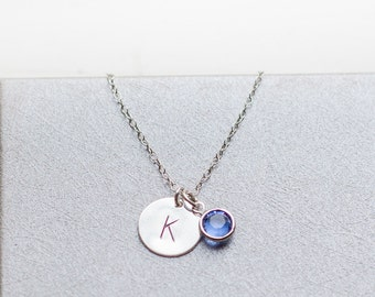 SILVER NECKLACE birthstone personalized unbiological sister initial letter birth stone birthday gift  jewelry child necklace kid /NE-900