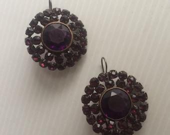 Vintage Amethyst GlassStarburst Atomic  Earrings