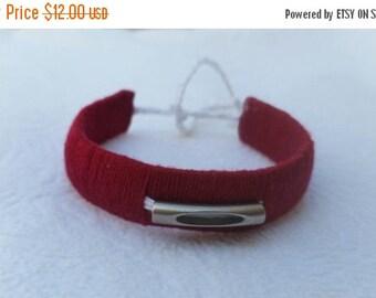 ON SALE Burgundy woven bracelet.