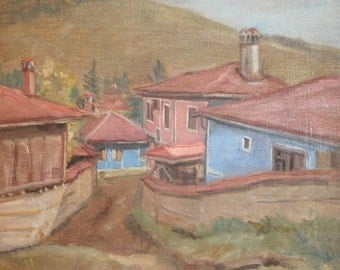 Vintage oil painting landscape mountain village