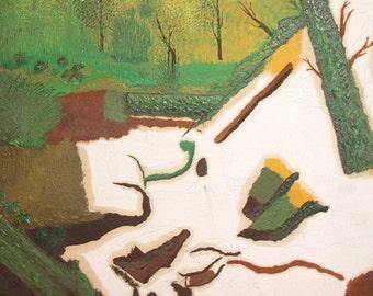 Vintage expressionist oil painting forest landscape
