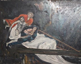Vintage surrealist figures oil painting signed