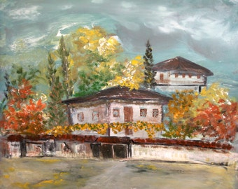 Impressionist oil painting country houses signed