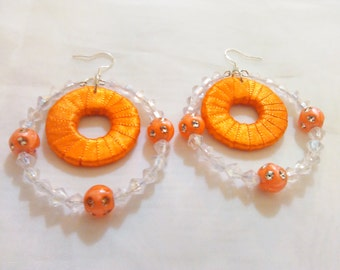 Hip Hop, African Orange/Silver Beaded, Ribbon Rhinestone Earrings