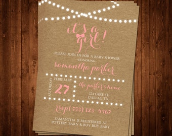 SALE 75% OFF Craft Paper It's A Girl Baby Shower Invitation