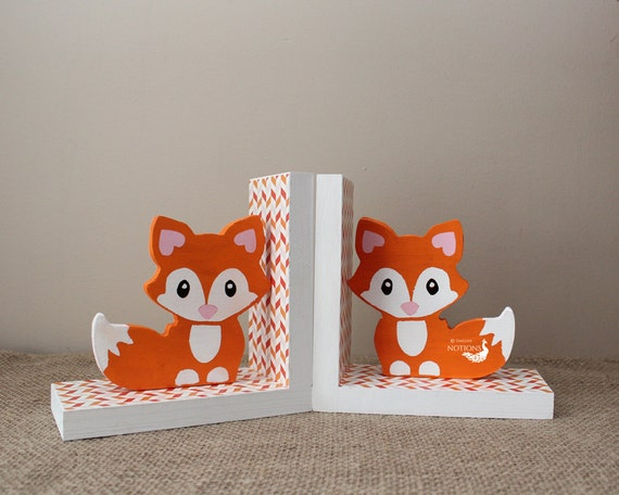 Baby Fox Bookends Woodland Nursery Decor Fox by TimelessNotion
