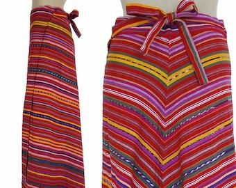 Long Rainbow Boho Wrap Skirt