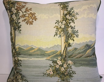Vintage Italian Tapestry Pillow-103  Free shipping,free down feather insert.