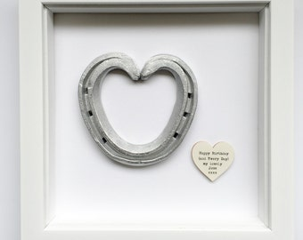 Handmade framed horseshoe heart with or without a personalised tag - anniversary engagement valentines gift - proposal - silver heart - love