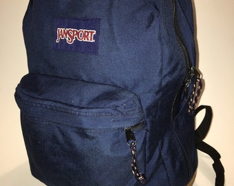 Throwback Jansport backpack navy blue and suede