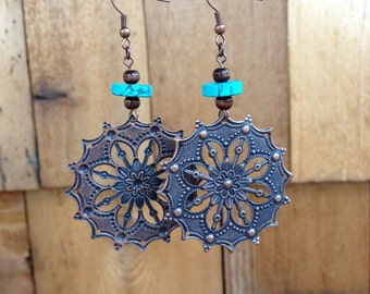Boho Earrings, Bohemian Earrings, Boho Dangling Earrings, Boho Dangle Earrings, Gypsy Earrings, Dangly Gemstone Earrings, Turquoise Earrings