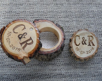Log Cut-Out Ring Box -  Wooden Ring Box -  Wedding - Engagement - Anniversary - Jewelry - Laser Engraving - Personalize
