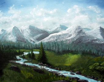 Cold mountains meadow - Landscape Oil Painting