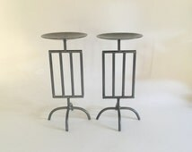 Pair Postmodern Pillar Candle Stands Metal Art Sculpture Geometric Burnished  Steel Rod Angular 90s Minimalist Modern Decor Beetlejuice
