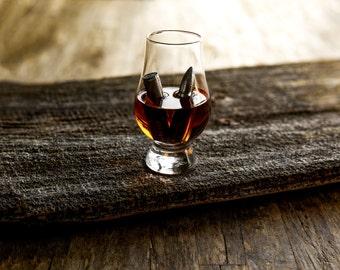 Whiskey Bullet Beverage Chiller Set of 3 with Glencairn Glass