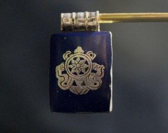 925 Sterling Silver Lapis Tibetan Ghau Pendant Handmade in Nepal