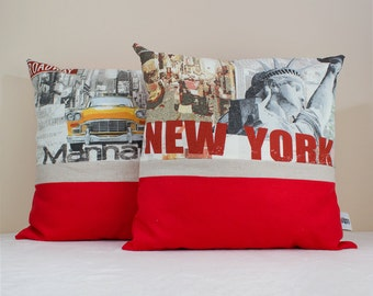 New York and Manhattan Linen Pillow Cover Set-Decorative Cushion Case-Linen and Cotton Pillow Cover