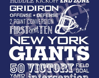New York Giants Football Word Art 5x7 Print / Sign - Typography Art Print