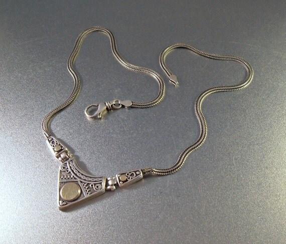 Sterling 14K Necklace Designer SiSae Israel Ornate Hinged