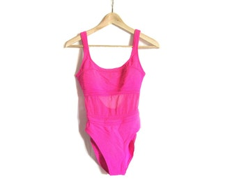 90s Hot Pink Mesh One Piece Swimsuit (Large)
