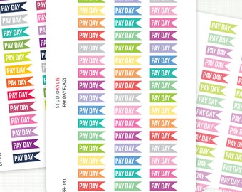 Pay Day Flags Planner Stickers  - Repositionable Matte Vinyl