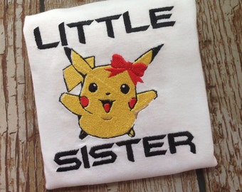 Custom embroidered pikachu inspired little/big sister shirt