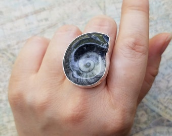 Large Orthoceras Fossil, Orthoceras Ring, Genuine Fossil Statement Ring, Fossil Jewelry, Unique Jewelry, Large Fossil Ring, Size 7.5