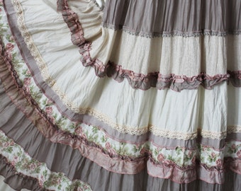 Picturesque maxi multi-tier skirt in boho style. Beige-caramel.