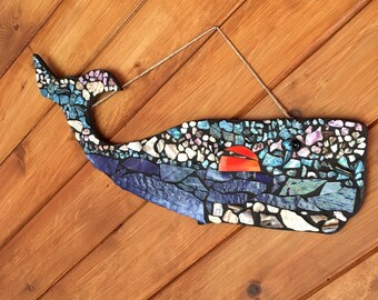 Whale Mosaic, A Whale's View of the sunset, Original Art
