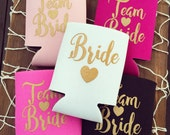 Team Bride Drink Coolers | Bachelorette Party Favors, Metallic Gold Drink Cooler Favors, Bachelorette Party Survival Kit, Bottle Can Holders