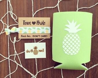 SALE Pineapple Bachelorette Favor Gift Set | Metallic Gold Tattoo, Hair Tie + Drink Cooler | Bachelorette Gift, Bachelorette Party Favor