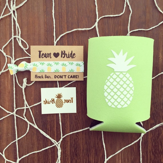 SALE Pineapple Bachelorette Favor Gift Set | Metallic Gold Tattoo, Hair Tie + Drink Cooler | Bachelorette Gift, Bachelorette Party Favor