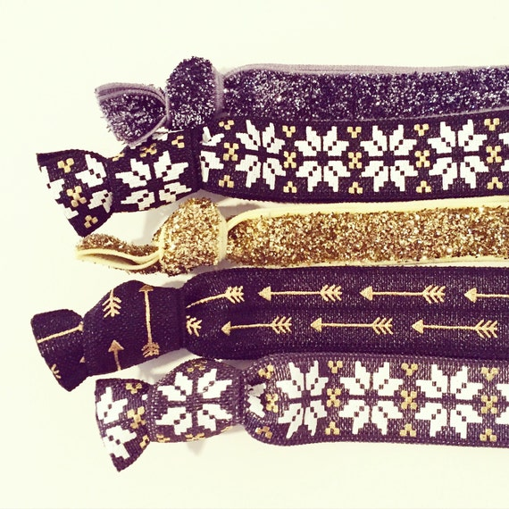 Black + Gold Nordic Hair Tie Set | Gold, Black + Charcoal Gray Creaseless Elastic Hair Tie Bracelets, Glitter Hair Ties, Winter Snowflakes