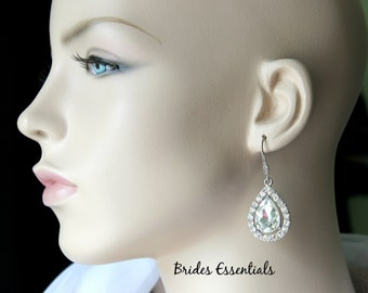 Wedding Rhinestone Earrings, Vintage Inspired Earrings, Bridal Silver Earrings, Wedding Jewelry, Bridesmaid Earrings, Crystals Earrings