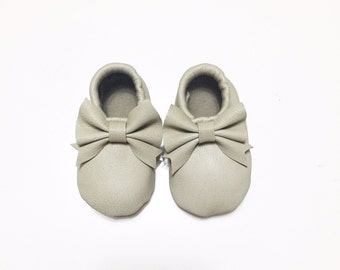 Real leather loafers with bow for babies and girls