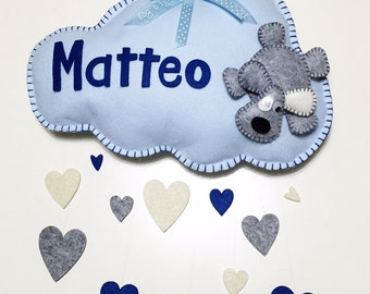 Stitchable cloud with little hearts and little dog