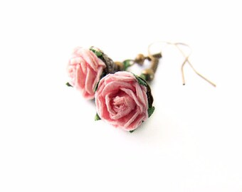Pink Rose Earrings, Pink Flower Dangle Earrings, Flower Girl Earrings, Cute Pink Floral Jewelry, Rose Earrings