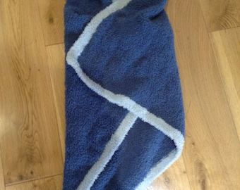 Hooded baby blanket wrap shawl blue cat design