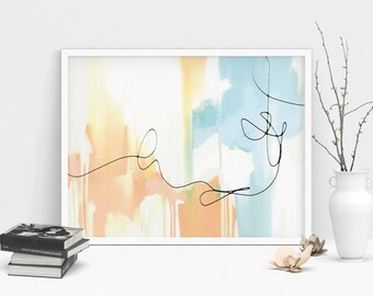 Printable Abstract Art, minimal wall art, modern art printable, Soft orange, pale blue and white, Digital Download, Landscape abstract