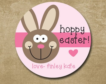 Easter Stickers, Personalized Round Easter Gift Labels, Easter Bunny, Girl Easter Favor Stickers, Happy Easter, Easter Bunny Labels
