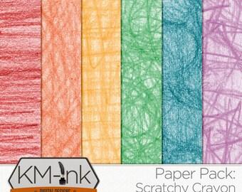 Digital Scrapbook Textured Paper Pack - Crayon Digital Paper in red, orange, yellow, green, blue, purple - Rainbow Crayon Printable Paper