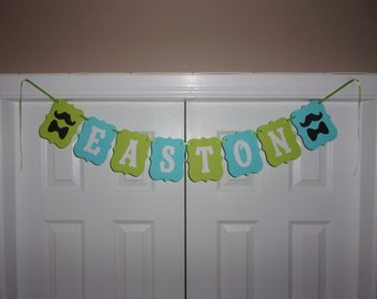 PERSONALIZED NAME/PHRASE Mustache Bow Tie Banner - Lime Green, Aqua Blue Cardstock - Little Man Birthday Baby Shower Sign Wall Decor