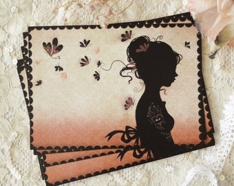 Postcard - Illustrated postcard - miss shadow - silhouette - cameo - Tattoo Girl
