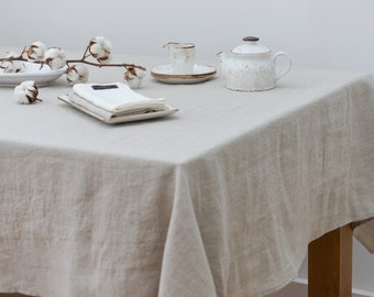 SALE 10% Off - Washed Linen Natural Classic Tablecloth