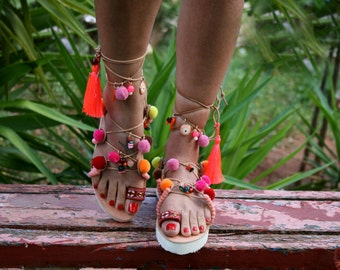 White sole decorated lace-up handmade leather sandal : Andromachi