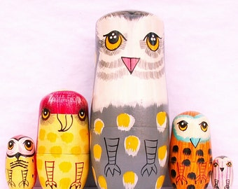 "Owls Family Nesting Dolls 5-1/2"""