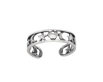ON SALE Sterling Silver .925 Heart, Star, Moon, Toe Ring adjustable size | Made In USA