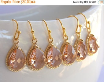SALE Wedding Jewelry, Bridesmaid Jewelry, Peach, Champagne, Gold, Blush, Bridesmaid  Earrings, Bridesmaid Gifts, Drop, Gold Earrings, Dangle