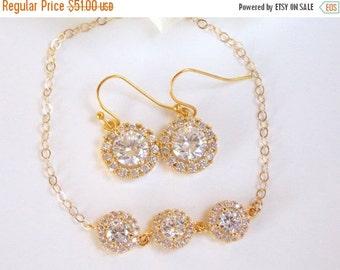 SALE Wedding Jewelry, Cubic Zirconia, Bridal Jewelry, Bridal Earrings and Bracelet Set, Gold Filled, Bride Earrings,Dangle, Bracelet Set,Gif
