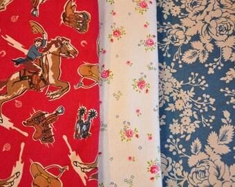 Fabric destash quilt cotton RAWHIDE by Moda 3 fat quarter Set Cowgirl  Western quilt fabric Horses bandana OOP VHTF